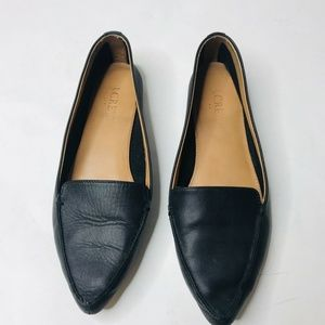 J. CREW Black Leather Women's Loafers, Size 8